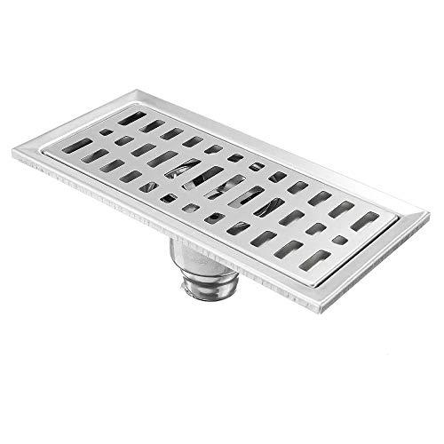 YBWEN Dusche Bodenablauf Edelstahl Rechteck Duschbodenablauf Removable Sieb Linear Feste Duschköpfe (Farbe : Silver, Size : 200x100mm)