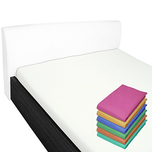 Nurtextil24 Bettlaken 100% Baumwolle 28 Farben und 4 Größen ohne Gummizug Weiß 100 x 170 cm