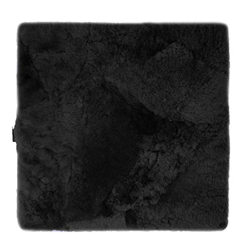 Sitzkissen Lammfell Patch (Rollstuhlauflage Katzenbett) 40x40cm schwarz