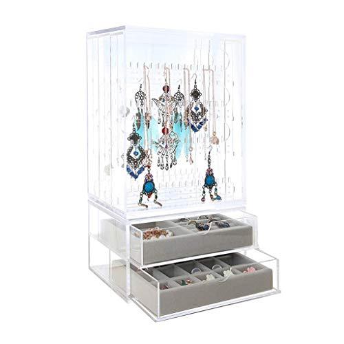 Organizador de maquillaje Nuevas cajas de joyas de acrílico soporte de exhibición 352 hoyos pendiente con 3 cajones verticales claro transparente bandeja para mujeres niñas regalo para organizar