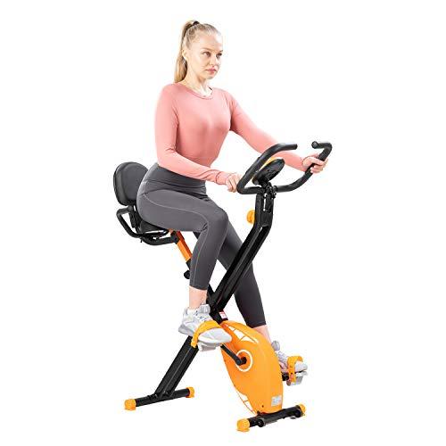CITYSPORTS Bicicleta Estática Plegable con Respaldo, Bicicleta para Ejercicios Profesional con 8 Niveles de Resistencia, Monitor de Pantalla LCD con Sensor de Frecuencia Cardíaca