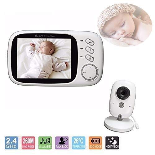 Babyfoon Video, Security Camera Baby/Elder/Dier, Wireless Met Camera Night Vision Temperatuur Monitoring Lullaby Function Hi Res Camera (kleur: wit) (Color : White)