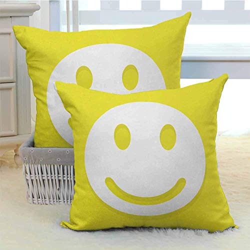 N\A Juego de Funda de Almohada Amarilla Rise Wake UO Positive Optimistic Life Message Big Smiley Happy Face Artwork Home Funda de cojín Decorativa para el hogar 2PCS Amarillo y Blanco
