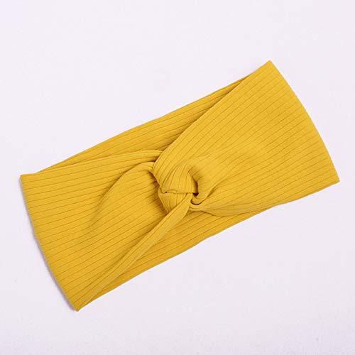 NoraHarry Femmes Bandeau Solide Couleur Large Turban Twist en Tricot de Coton Hairband Double Spirale Filles Maquillage Bandes élastiques Accessoires Cheveux (Color : Style 3 Yellow)