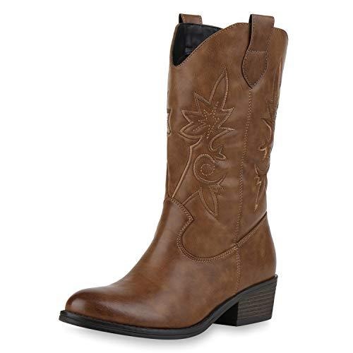 SCARPE VITA Damen Cowboystiefel Gefütterte Western Stiefel Cowboy Boots 173458 Hellbraun 36
