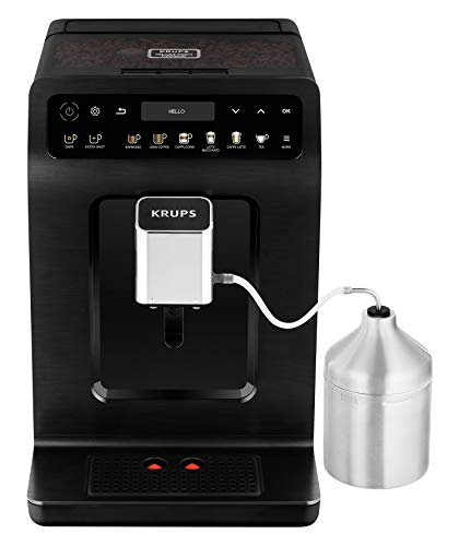 Krups EA8948 Evidence Plus Kaffevollautomat, Neues XL OLED-Farbdisplay, Barista Quattro Force Technologie, 16 Kaffee-Variationen, 3 Tee-Variationen, One-Touch-Cappuccino Funktion schwarz-metallic