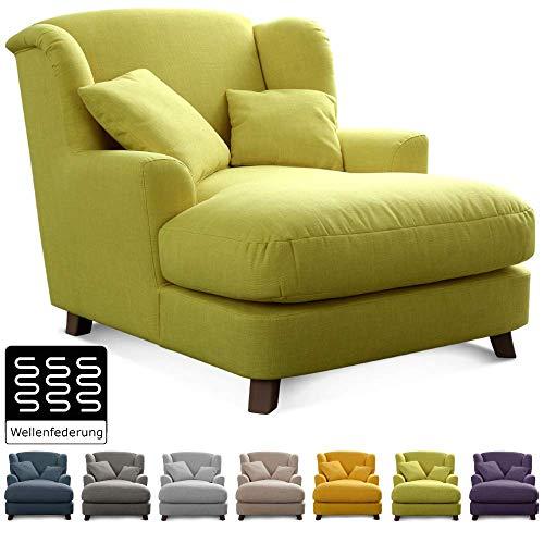 Cavadore XXL-Sessel Assado / Großer Polstersessel mit Holzfüßen und großer Sitzfläche / Inkl. 2 Zierkissen / 109 x 104 x 145 / Flachgewebe Grün