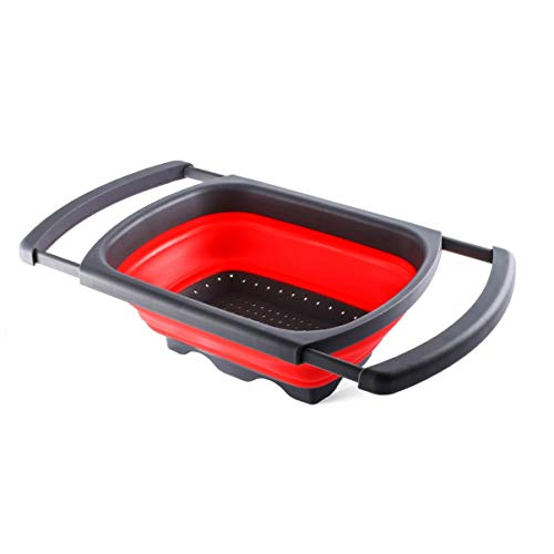 Cesta de drenaje retráctil para cocina, para el hogar, plegable, rectangular, para frutas y verduras