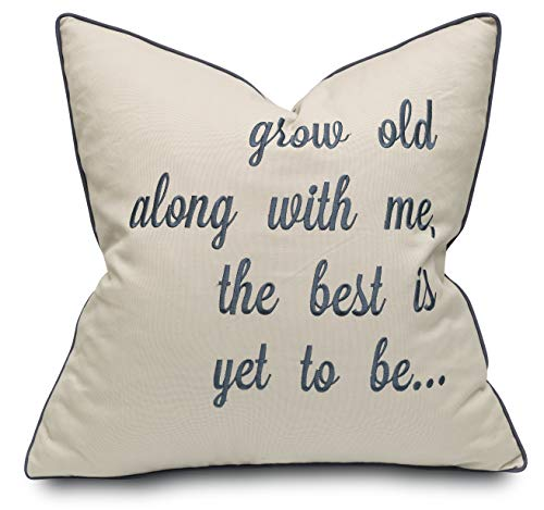 YugTex Grow Old Along with Me Cotton Embroidered Decorative Square Accent Throw Pillow Cover - Couple Bedroom Decor, Valentine Gift - 18x18 Inches, Tan
