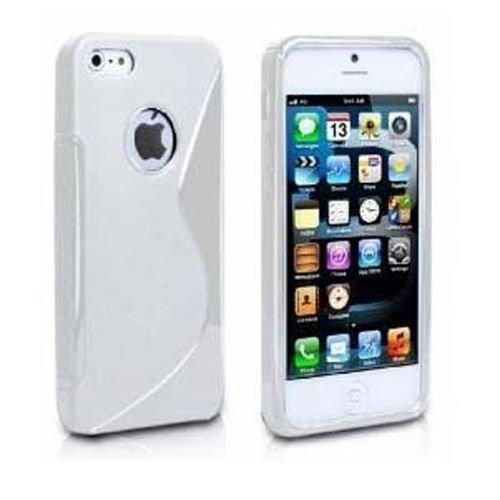 Custodia protettiva morbida Sline BIANCO di Silicone TPU Case Cover per Iphone 5/5S - Cover + Pellicola Protettiva Schermo Originale EASYPLACE