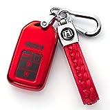 for Honda Key Fob Cover, Key Fob Case for Honda Accord Civic CRV Pilot Odyssey Smart Premium Soft TPU Full Cover Protection Smart Remote Keyless Key Fob Shell,Red