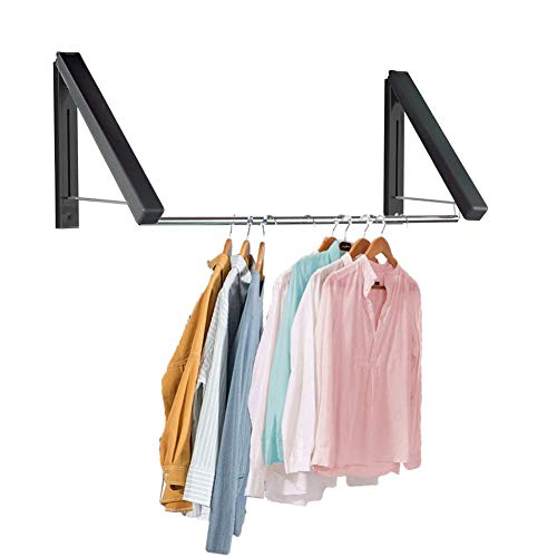 XNDCYX Retractable Clothes Drying Rack Wall Mount, Foldable Clothes Hanger for Laundry Room, Best Used for Shirts Pants Towels, Aluminum, Collapsible for Storage,40cm