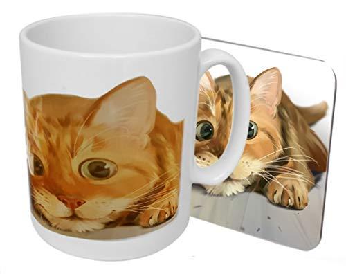 Ginger Cat - Juego de taza y posavasos en caja