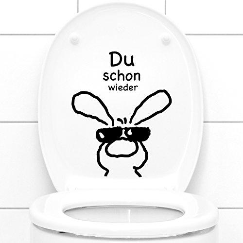 Grandora Wandtattoo Du Schon Wieder + Hase I schwarz (BxH) 21 x 26 cm I WC Badezimmer Bad Dekoration Aufkleber Wandsticker Wandaufkleber Sticker W3034