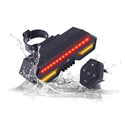 la luz trasera de la bicicleta con su vez señal de control remoto inalámbrico resistente al agua cola de la bicicleta de montaña luz USB recargable moto cola de la bicicleta luz luz de advertencia