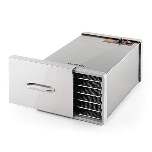 KLARSTEIN Fruit Jerky Pro - Deshidratador de alimentos, Secadora, Potencia 630W, Temperatura regulable, Carcasa de acero, 6 pisos extraíbles, Plateado