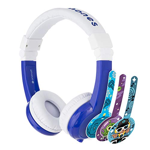 ONANOFF BuddyPhones Explore Foldable, Volume-Limiting Kids Headphones with Travel Bag, Built-In Audio Sharing Cable with Mic, Compatible with Fire, iPad, iPhone, and Android Devices, Blue