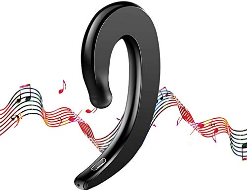 2021 Latest Modern-Sound Bone Conduction Hook Earphone, Lightweight Ear-Hook Bluetooth Headset with Mic, Waterproof Noise Cancelling All Day Comfy