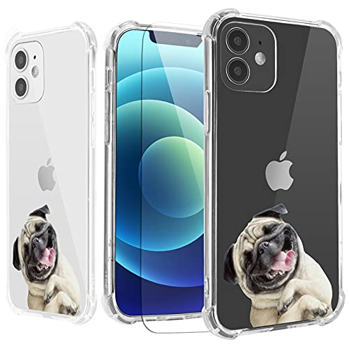 Pug Dog Case for iPhone 11 with Screen Protector,for iPhone 11 Case Puppy,Cute Animals Design TPU [Shock Absorbing] Soft Bumper Protective Case Cover for iPhone 11 6.1 inch- Pugs