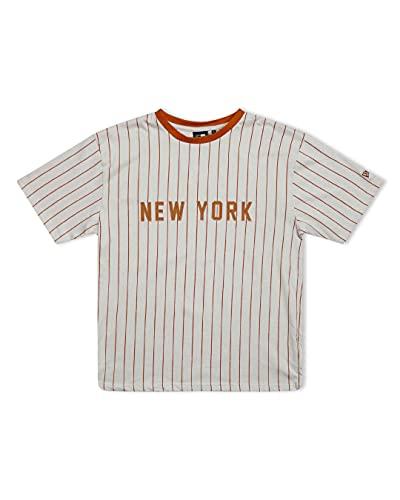 New Era MLB New York Yankees - Camiseta de manga corta para hombre, diseño de rayas, color beige y marrón, talla L