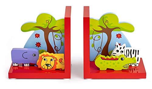 Mousehouse Gifts - Kinder 3D-Safari-Buchstützen - aus Holz - für Mädchen & Jungen