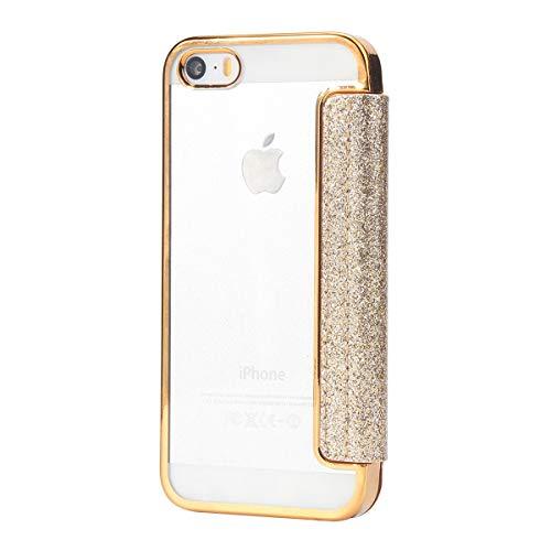 Funda para iPhone 5/5S,Estuche de Billetera Funda Protectora de Lujo a Prueba de Golpes de Lujo Bling PU de Cuero TPU para iPhone 5 / 5S[Dia de la Madre Regalos]