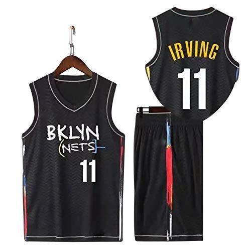 WJP Camiseta De Baloncesto Kyrie Irving Brooklyn Nets # 11 Traje De Uniforme De Baloncesto, Camiseta Transpirable De Baloncesto Nuevo 2021 + Pantalones Cortos Irving Black-XXL