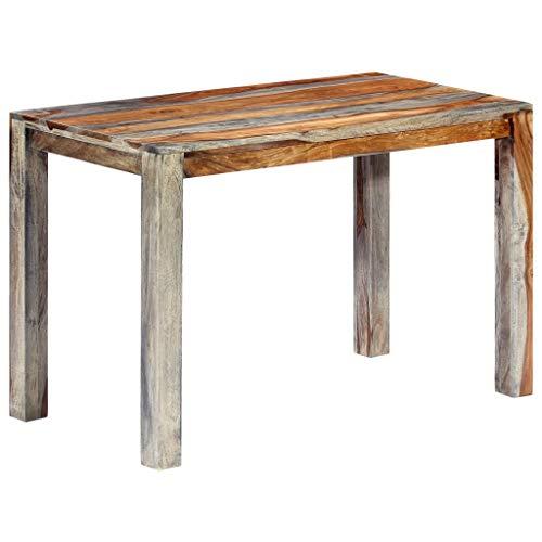 vidaXL Sheesham-Holz Massiv Esstisch Küchentisch Esszimmertisch Holztisch Speisetisch Tisch Massivholztisch Grau Palisander 118x60x76cm
