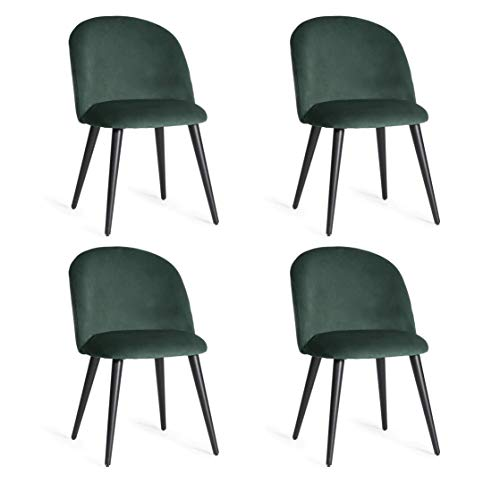 Esszimmerstuhl 4er Set Küchenstühle mit Rückenlehne Esstisch Esszimmer Stühle Aus Samt und Holz Dining Chair für Esszimmer Wohnzimmer Essstühle Esszimmer Set Dunkelgrün