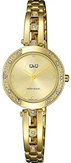 Q&Q For Women Gold Dial Stainless Steel Band Watch f639-010y