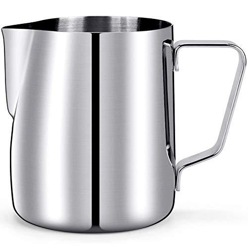 YULIN Milchkännchen, 350 ml, Stahl, Espresso-Krug, Milchschaum-Tasse mit Skalengirlande