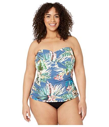 La Blanca Women's Bandeau Tankini Swimsuit Top, Blue Moon//Tropical rain, 16W