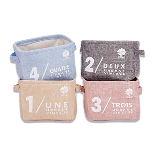 set di piccoli organizer in tessuto per bambini (beige, grigio, rosa, blu), cesta portaoggetti in tessuto, organizer con 2 maniglie su entrambi i lati, 20,5 x 17 x 15 cm,set da 4 pz Plain colors