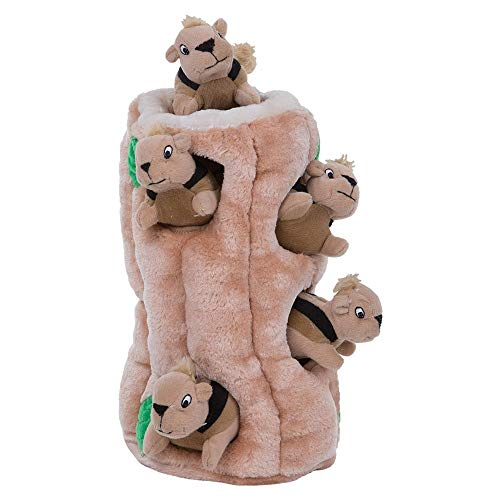 Outward Hound Interactive Puzzle Toy – Plush Hide and Seek Activity for Dogs – Strong & Durable Fluffy Toy for Awesome Pets, Squirrel, Small (Renewed)