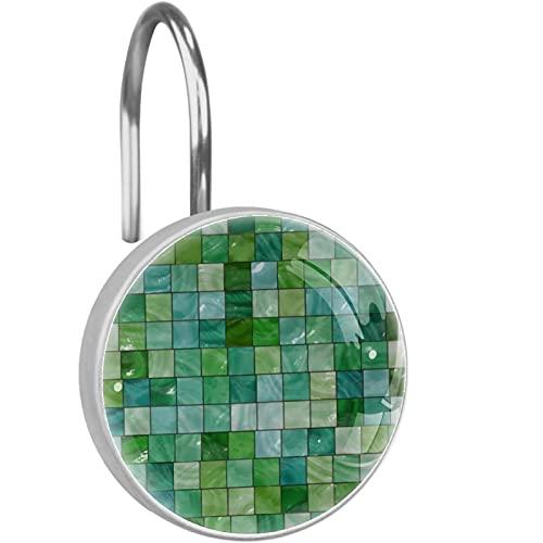 Ganchos para Cortinas de Ducha de Acero Inoxidable a Prueba de Herrumbre (12 Piezas) Cortina de Ducha Anillos de suspensión Decorativos,Azulejo Verde