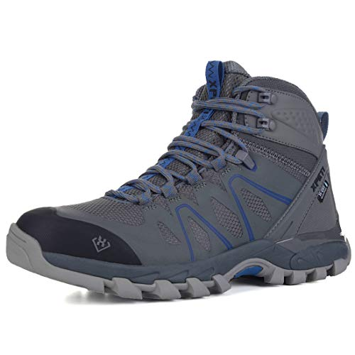 XPETI Men's Wildfire Mid Waterproof Hiking Boot Grey/Blue 9.5