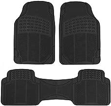 BDK Original ProLiner 3 Piece Heavy Duty Front & Rear Rubber Floor Mats for Car SUV Van & Truck, Black – All Weather Floor Protection with Universal Fit Design
