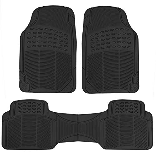 BDK MT783PLUS Black ProLiner Original 3pc Heavy Duty Front & Rear Rubber Floor Mats for Car SUV Van & Truck, All Weather Protection Universal Fit