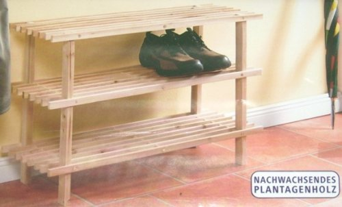 Étagère à chaussures étagère en bois massif chaussure armoire 3 étages