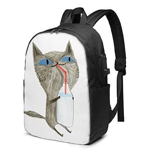Mochila de leche para beber gato, mochila de viaje con puerto de...