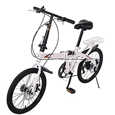 ?US Stock? Youth/Adult 20in Folding Bike 7 Speed ??City Bike Road Urban Commuter Tires High Tensile Leisure Lightweight Aluminum Mini Compact Bike Bicycle
