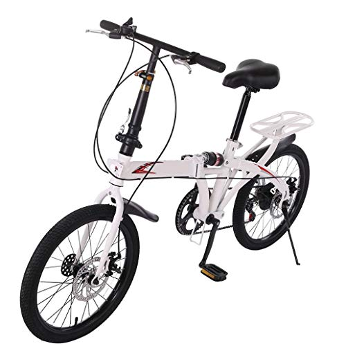【US Stock】 Youth/Adult 20in Folding Bike 7 Speed City Bike Road Urban Commuter Tires High Tensile Leisure Lightweight Aluminum Mini Compact Bike Bicycle