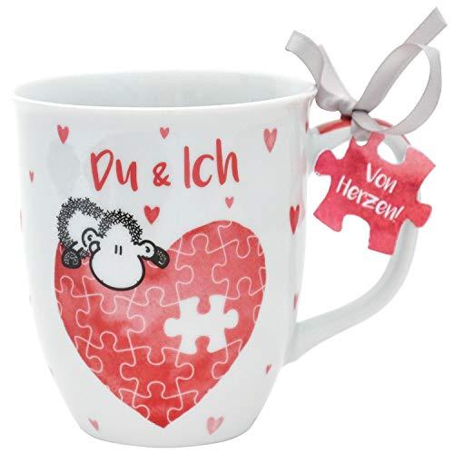 Sheepworld 45321 Kaffee-Tasse mit Spruch Du und Ich, mit Geschenk-Anhänger, 40 cl, Porzellan