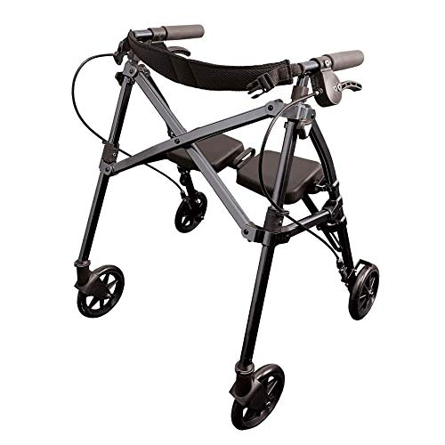 Able Life Space Saver Rollator Short, Lightweight Junior Folding Walker for Seniors and Adults, Petite Walker with Wheels and Seat, Black Walnut