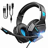 Mpow EG10 Gaming Headset für PS4 Handy Xbox one Nintendo Switch PC, Gaming Kopfhörer mit 50MM-Treiber, Super Leicht LED Gaming Headset, Noise Cancelling-Mikrofon, Over-Ear Gaming Headset
