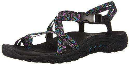 Skechers womens Reggae-islander - Multi-strap Toe Thong Slingback Sandal, Black/Multi, 6 US
