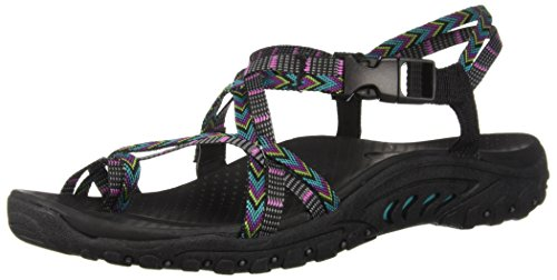 Skechers womens Reggae-islander - Multi-strap Toe Thong Slingback Sandal, Black/Multi, 9 US