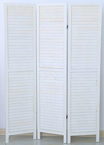PEGANE Biombo persiana de Madera de 3 Paneles, Colorido con Blanco Barnizado - Dim : A 170 x A 120 cm