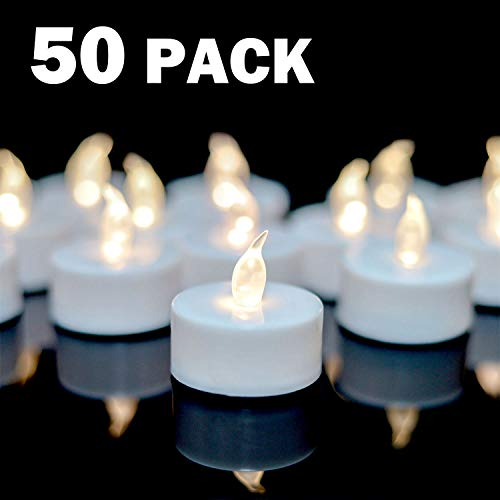 Tea Lights 50pack flameless Tea Light Candles 100 Hours Pack of Warm White Light Realistic Flickering Bulb Battery Operated Tea Lights for Halloween Seasonal Festival Celebration Electric Fake Candle