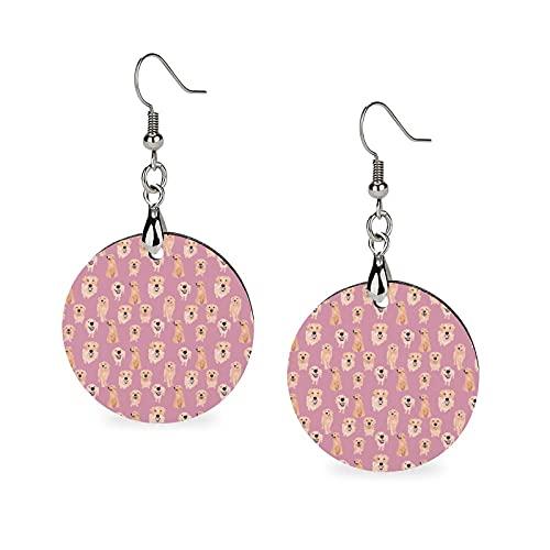 Pendientes de madera con colgante redondo y diseño de personalidad para niñas Golden Retrievers en color rosa